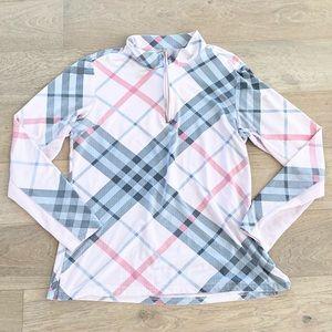 San Soleil half zip pullover plaid pink large